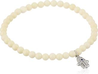 Tai Bone Beaded Silver Hamsa Stretch Bracelet