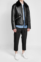 Our Legacy Leather Jacket with Shearling Collar