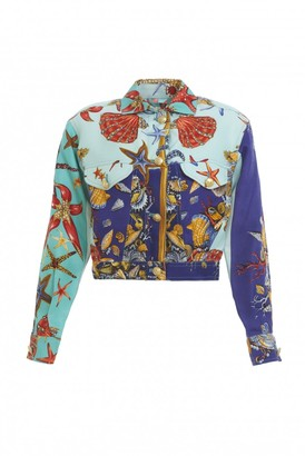 Gianni Versace Blue Silk Jacket for Women Vintage
