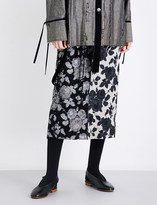 Song For The Mute Strap-detail floral-print high-rise brocade skirt