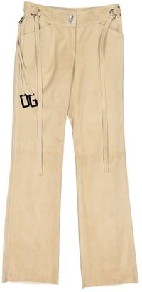 Dolce & Gabbana Beige Suede Trousers