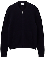 Jigsaw Cotton Ottoman Rib Bomber Zip Through Cardigan, Navy