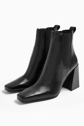 Topshop HARBOUR Leather Black Chelsea Boots