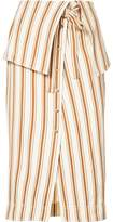 Rosie Assoulin folded waist striped skirt