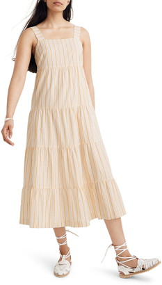 Madewell Stripe Button Back Tiered Midi Dress