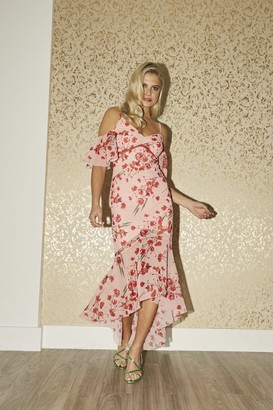 Little Mistress Polly Poppy Floral-Print Cold-Shoulder Maxi Dress