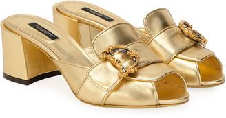 Dolce & Gabbana 60mm Heeled Metallic Slide Sandals with Buckles