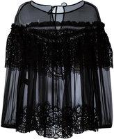 Alberta Ferretti sheer ruffled lace top - women - Silk - 42
