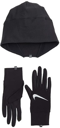 Nike Essential Running Hat and Glove Set (Black/Black/Silver) Gore-Tex Gloves
