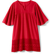 Lands' End Girls Eyelet Cover Up-Compass Red