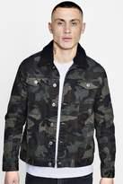 boohoo Camo Denim Jacket With Borg Collar