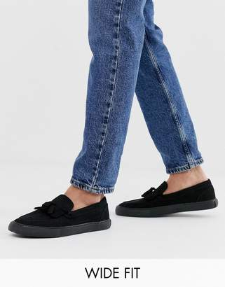 Asos Design DESIGN Wide Fit slip on tassel plimsolls in black faux suede