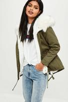 Missguided Petite Khaki Faux Fur Lined Parka Coat, beige