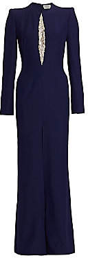 Alexander McQueen Women's Embellished Vented Long-Sleeve Gown