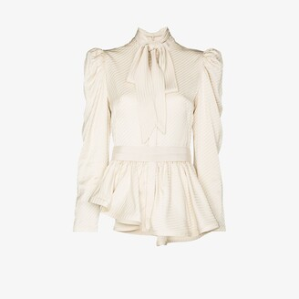 Silvia Tcherassi Abigail tie neck peplum blouse