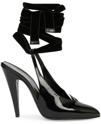 Saint Laurent Venus Ankle-Wrap Patent Leather Pumps