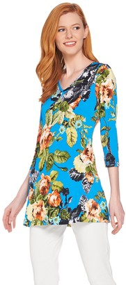 Women With Control Attitudes by Renee Printed V-Neck Tunic with Pockets