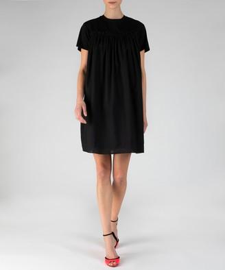 Atm Mix Media Crew Neck Short Sleeve Dress - Black