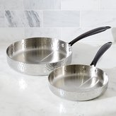Crate & Barrel Fleischer and Wolf Seville Hammered Tri-Ply Stainless Steel Fry Pans, Set of 2