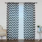 "Best Home Fashion Faux Sheer Gauzy Linen Chevron Print Curtains – Rod Pocket – Black – 52""W x 96""L – (Set of 2 Panels)"