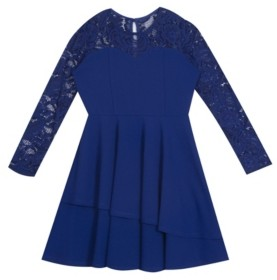 Rare Editions Big Girl Scuba Crepe 2-Tier Asymmetrical Skater Dress With Lace Sleeves