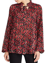 Lauren Ralph Lauren Petite Floral-Print Pleated Top