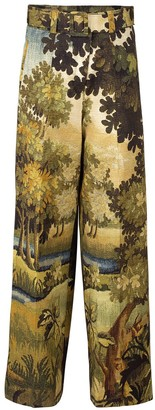 Oscar de la Renta Printed Full Leg Belted Trouser