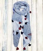 Jc Sunny JC Sunny Women's Accent Scarves - Blue & Red Bird Tassel-Trim Lightweight Scarf - Women
