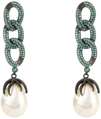 Latelita Baroque Pearl Link Chain Drop Earring Aqua Cz