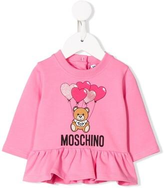 MOSCHINO BAMBINO Logo Ruffle Long-Sleeve Top