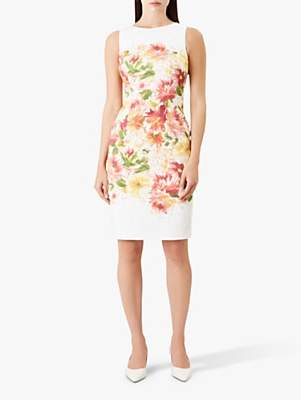 Hobbs Fiona Floral Print Dress, Ivory/Multi