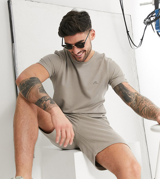 Jack and Jones textured two-piece t-shirt in taupe Exclusive at ASOS