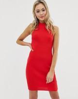 Asos Design DESIGN high neck mini bodycon dress with ring back