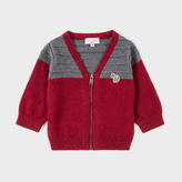 Paul Smith Baby Boys' Burgundy Cashmere-Blend Zebra-Logo Cardigan