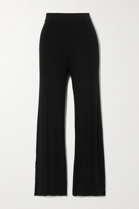 Ninety Percent Ribbed Tencel-blend Straight-leg Pants - Black