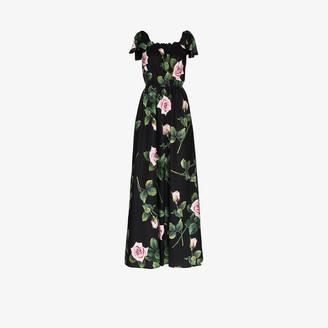 Dolce & Gabbana Rose Print Tie Shoulders Maxi Dress