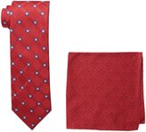 Steve Harvey Men's Tall Satin Grid Necktie and Brocade Pocket Square