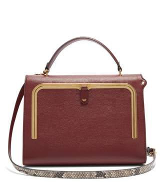 Anya Hindmarch Postbox Medium Leather Cross-body Bag - Womens - Burgundy
