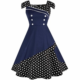 Doldoa Women's Sleeveless Dress Sale Vintage Polka Dots Pleated Cocktail Party Dress Summer Swing Dress(Dark Blue L)