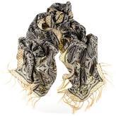 Black Paisley Print Silk Scarf