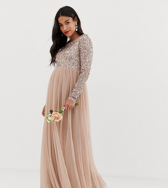 Maya Maternity Bridesmaid long sleeved maxi dress with delicate sequin and tulle skirt in taupe blush-Brown
