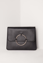 Missguided Circle Trim Oversized Clutch Bag Black