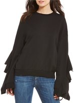 J.o.a. French Terry Ruffle Bell Sleeve Top