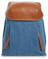 Loewe T Small Denim & Leather Backpack - Blue
