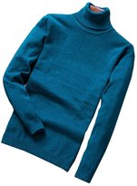WHENOW Men's Basic Knitted Turtleneck Slim Fit Pullover Solid Sweater S