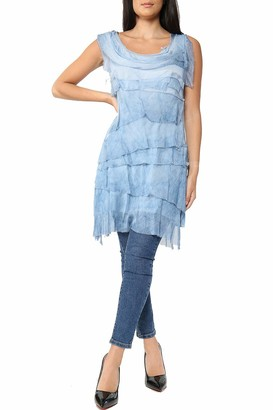 QMART Ladies Italian Lagenlook Top Dress for Women Flap Over Shredded Layer Look Plain Pleated Frill Dresses (Denim One Size)