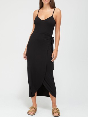 Very Jersey Wrap Midi Dress - Black