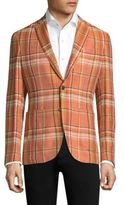 Etro Unlined Coral Plaid Blazer