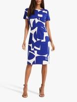 Phase Eight Gretchen Print Dress, Ivory/Cobalt