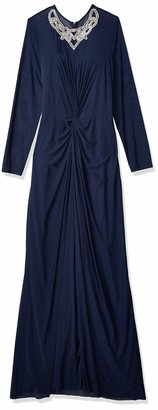 Marina Women's Gown with Sheer Sleeves Knot Front and Beaded Press On at Neckline